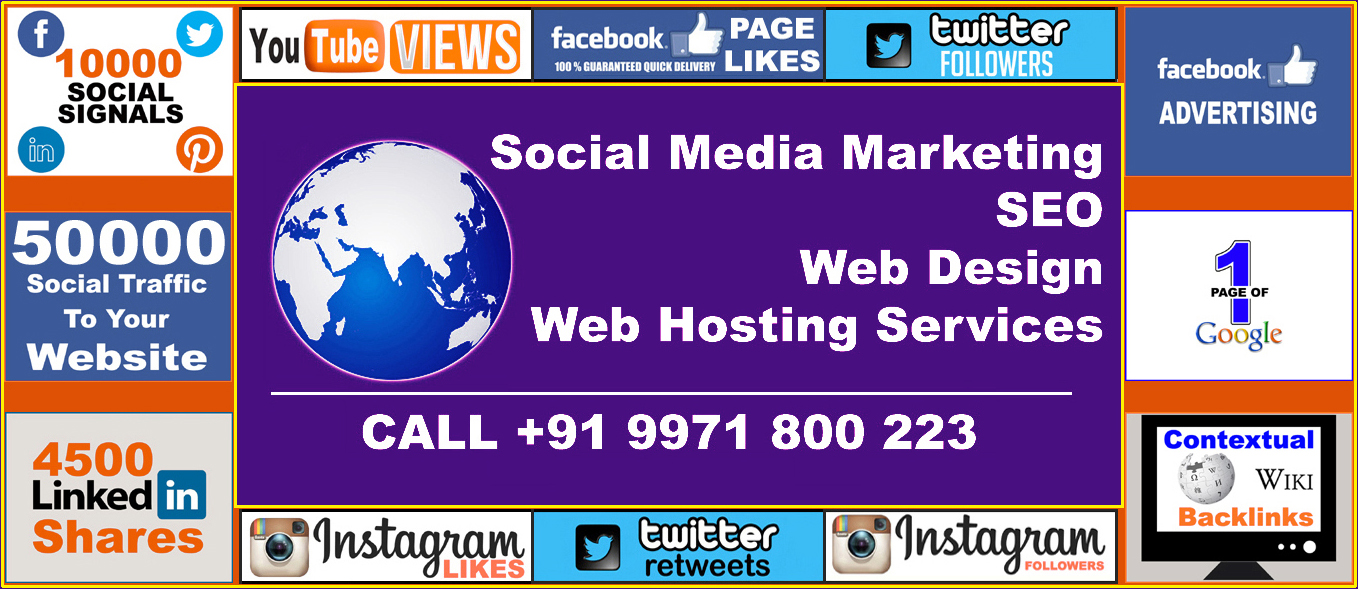 Social Media Marketing, SEO, Web Design And Web Hosting Services In India